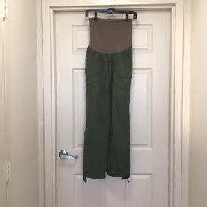Green cargo maternity pants